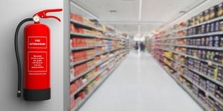 Feuerlöscher auf einer Wand, Unschärfesupermarkt-Korridorhintergrund Abbildung 3D Stockbild
