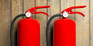Feuerlöscher auf hölzernem Hintergrund Abbildung 3D Lizenzfreie Stockfotos