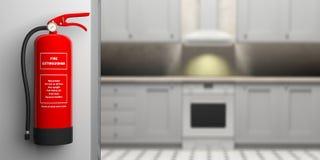 Feuerlöscher auf Wand, Unschärfehaus-Küchenhintergrund Abbildung 3D Lizenzfreie Stockfotos
