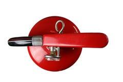 Feuerlöscher, Brandschutz, schmutziger Feuerlöscher lokalisiert auf weißem Hintergrund lizenzfreies stockfoto