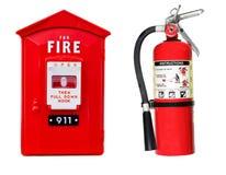 Feuerlöscher und Warnungskasten lokalisiert stockfotos
