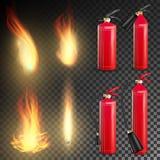Feuerlöscher Vektor Unterzeichnen Sie realistische Flamme des Feuer-3D und roten Feuerlöscher Transparente Hintergrundillustratio Stockbilder