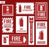Feuerlöscheraufkleber und -zeichen lizenzfreie abbildung