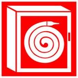 Feuerlöschschlauch-Spulen-Kabinett-Symbol-Zeichen-Isolat auf weißem Hintergrund, Vektor-Illustration ENV 10 stock abbildung