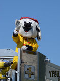 Feuern Sie ab und retten Sie Maskottchen beim Ypsilanti, MI 4. von Juli-Parade Stockfoto