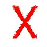 Feuern Sie Buchstaben X lokalisiert auf weißem Hintergrund mit Beschneidungspfad ab Stockbilder