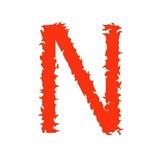 Feuern Sie Buchstaben N ab, der auf weißem Hintergrund mit Beschneidungspfad lokalisiert wird Stockfotografie