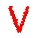 Feuern Sie Buchstaben V lokalisiert auf weißem Hintergrund mit Beschneidungspfad ab Stockbild