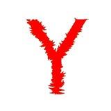 Feuern Sie das Ypsilon ab, das auf weißem Hintergrund mit Beschneidungspfad lokalisiert wird Lizenzfreie Stockfotos
