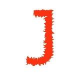 Feuern Sie den Buchstaben ab J, der auf weißem Hintergrund mit Beschneidungspfad lokalisiert wird Lizenzfreies Stockbild