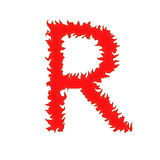 Feuern Sie den Buchstaben ab R, der auf weißem Hintergrund mit Beschneidungspfad lokalisiert wird Stockfotografie