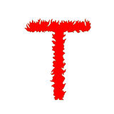 Feuern Sie den Buchstaben ab T, der auf weißem Hintergrund mit Beschneidungspfad lokalisiert wird Lizenzfreie Stockfotos