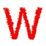 Feuern Sie den Buchstaben ab W, der auf weißem Hintergrund mit Beschneidungspfad lokalisiert wird Lizenzfreie Stockbilder
