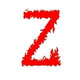 Feuern Sie den Buchstaben ab Z, der auf weißem Hintergrund mit Beschneidungspfad lokalisiert wird Lizenzfreie Stockfotografie