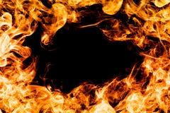 Feuern Sie Flammen auf schwarzem Hintergrund, Rahmen, Grenze ab Stockbild