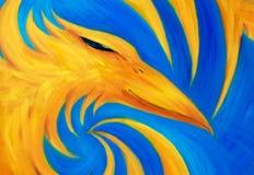 Feuern Sie Phoenix auf blauem Hintergrund, ursprüngliches Ölgemälde, Phoenix ist gelbe Farbe ab Stockfotos