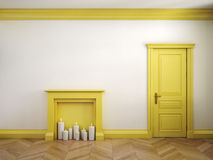 Feuern Sie Platz, Tür und Parkett im klassischen skandinavischen gelben Innenraum ab 3d übertragen Abbildung lizenzfreie abbildung