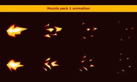 Feuern Sie Waffenmündungs-Animationsrahmen für Karikaturspiel ab Stockbilder