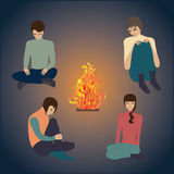 Feuernacht, der Kunstzusammenfassung der jungen Leute kreative moderne Vektorillustration Lizenzfreies Stockbild