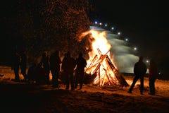 Feuernachtwinter Lizenzfreies Stockbild