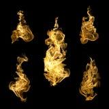 Feuersammlung der hohen Auflösung lokalisierte Flammen auf Schwarzrückseite Lizenzfreies Stockbild