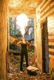 Feuershow Feuer-Verschnaufpause große Plume Of Flame Lizenzfreies Stockbild