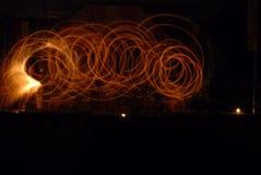 Feuershow historisch Stockfotografie