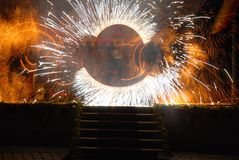 Feuershow historisch Stockbilder