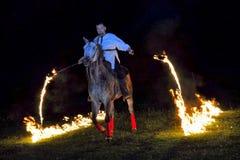 Feuershow mit Pferden Lizenzfreies Stockbild
