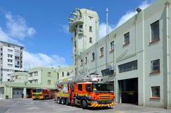 Feuerspritzen in der Auckland-Stadt-Feuerwache in Auckland neues Zeala lizenzfreie stockfotos