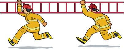 Feuerwehrmänner, die mit Strichleiter laufen Stockbilder