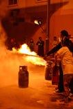 Feuerwehrmänner, die Wiederholung zur Sicherheit und zum Wissen ausbilden Stockbild