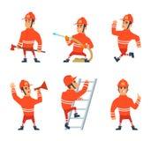 Feuerwehrmann auf der Arbeit Verschiedene Aktions-Haltungen stock abbildung