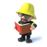 Feuerwehrmann 3d, der ein Buch liest Stockfotografie