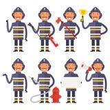 Feuerwehrmann in den verschiedenen Haltungen lizenzfreie abbildung