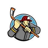Feuerwehrmann-Eis-Hockey-Maskottchen Stockfoto