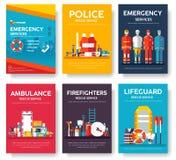 Feuerwehrmann, flößend, Polizei, Medizinrettungskarten-Schablonensatz Flache Designikone von flyear, Zeitschriften, Poster, Buch vektor abbildung