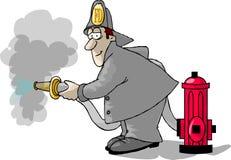 Feuerwehrmann, Hydrant und ein Schlauch lizenzfreie abbildung