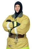 Feuerwehrmann im Kopfschutz lizenzfreie stockbilder