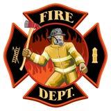 Feuerwehrmann innerhalb des Malteserkreuz-Symbols Lizenzfreie Stockfotografie