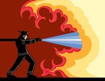 Feuerwehrmann-kämpfendes Feuer vektor abbildung