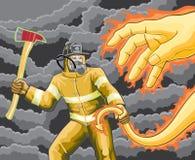 Feuerwehrmann kämpft Feuer-Dämon lizenzfreie abbildung