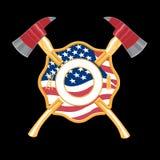 Feuerwehrmann-Kreuz mit Äxten stock abbildung