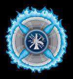 Feuerwehrmann-Kreuz mit blauen Flammen Lizenzfreie Stockfotografie