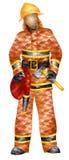 Feuerwehrmann mit geometrischem Musterdreieck des Schlauches und der Axt Stockbilder