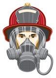 Feuerwehrmann mit Schablone Stockbild