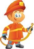 Feuerwehrmann mit Schlauch Lizenzfreie Stockfotos