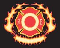 Feuerwehrmann-Quersymbol mit lodernder Fahne stock abbildung