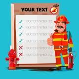 Feuerwehrmann Shouting Into Megaphone mit Schautafel - VE Stockfoto