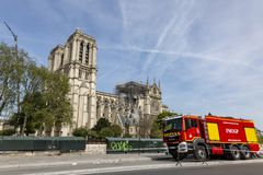 Firefighter Truck Near Notre Dame Cathedral in Paris